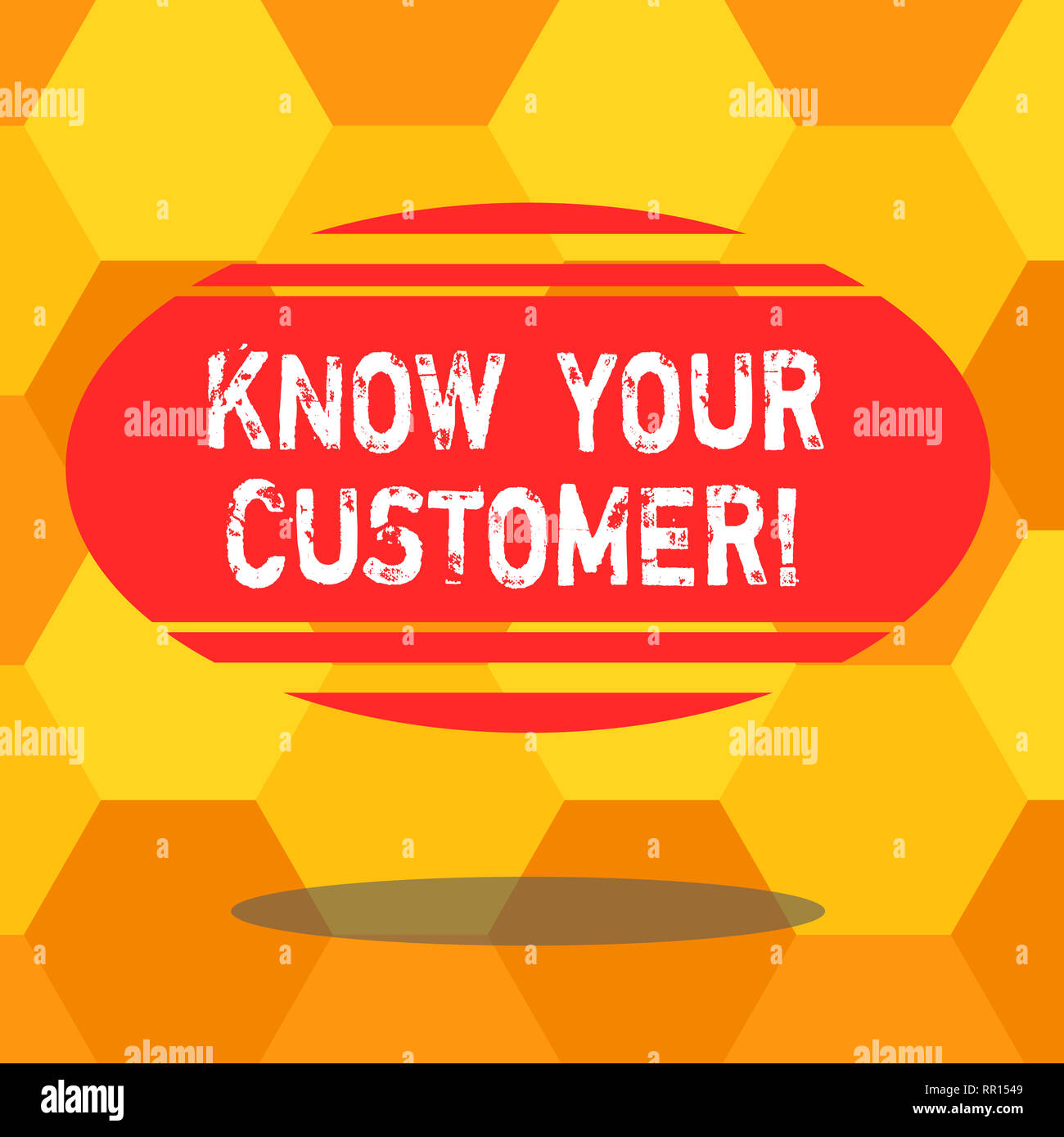 Handwriting text writing Know Your Customer. Concept meaning verifying identity clients and assessing potential risks Blank Color Oval Shape with Hori - Stock Image