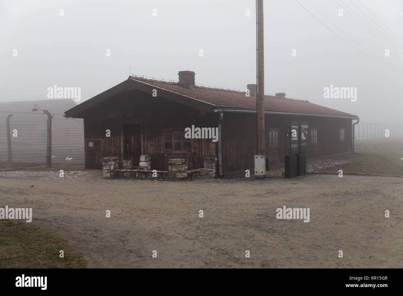 Auschwitz-Birkenau concentration camp. Station building accepting transport of convicts. German death camp. Barak branch Canada. - Stock Image