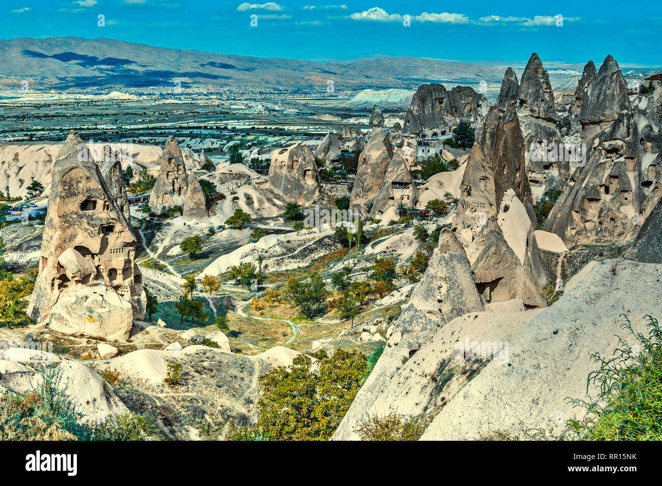 Turkey Cappadocia Rock Dwellings Stock Photo