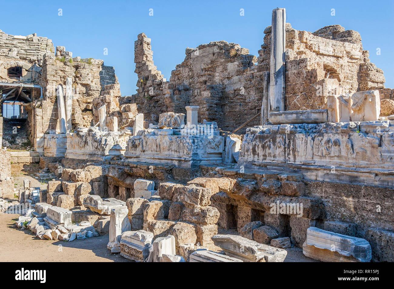 Amphitheatre, Side, Turkey Stock Photo