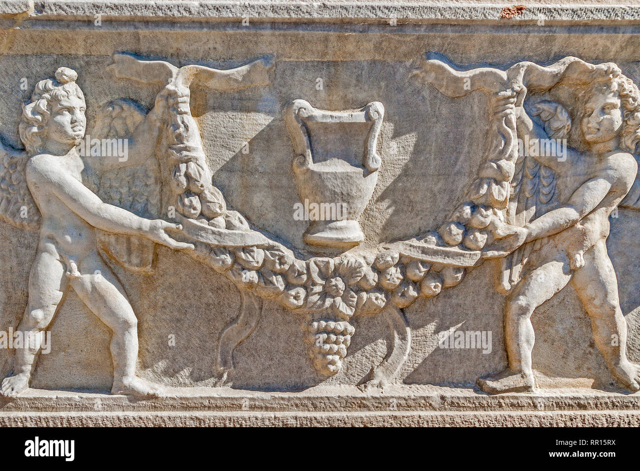 Sarcophagus Figures, Side Museum, Side, Turkey Stock Photo