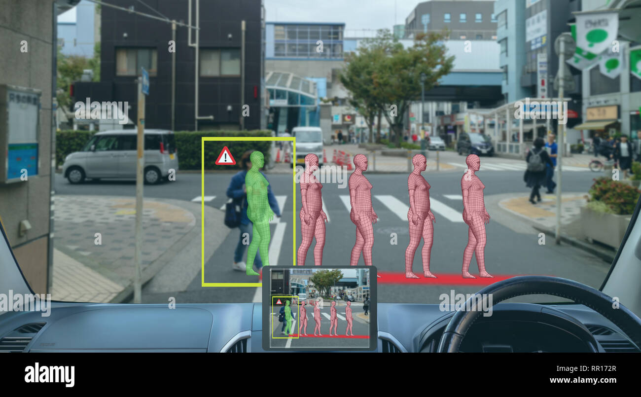 smart artificial intelligence in autonomous car with self driving technology concept, the car use predicting pedestrain movement in 3d for driverless  - Stock Image
