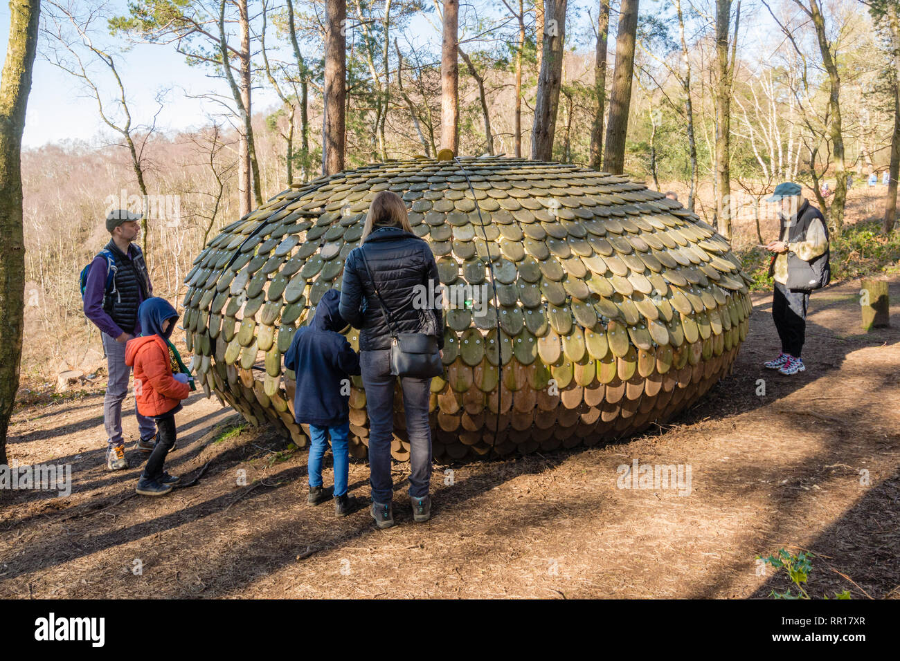 Art installation called Perspectives by Giles Miller in The Hurtwood in the Surrey Hills Area of Outstanding Natural Beauty UK with visitors. - Stock Image