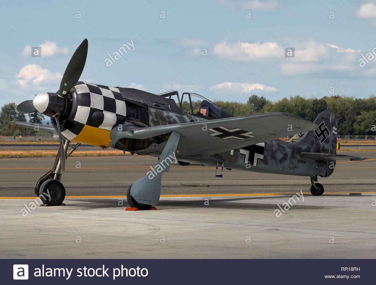 Focke-Wulf FW190 A/9  on apron - Stock Image