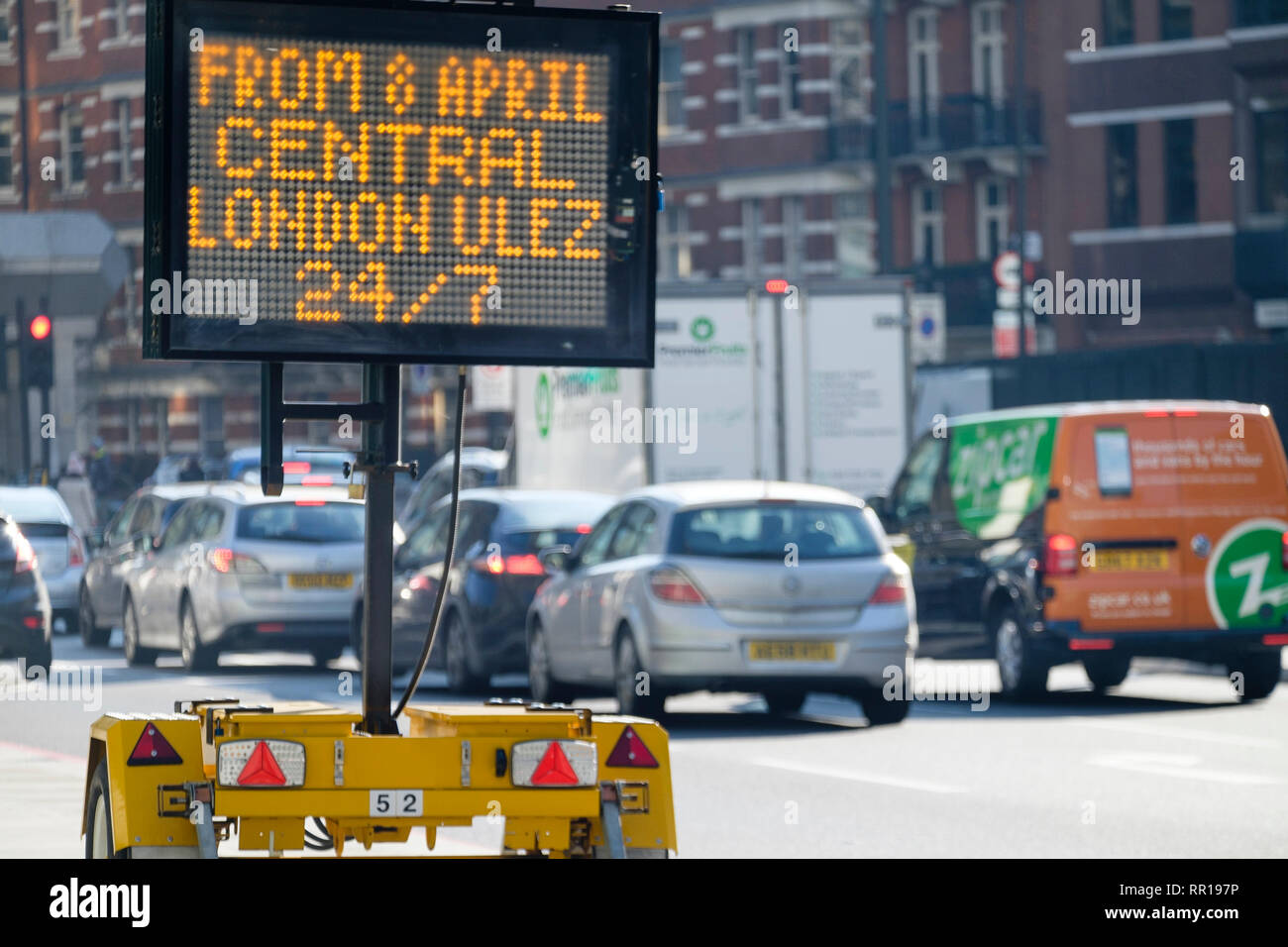 Matrix sign forewarning drivers of the incoming Central London Ultra Low Emission Zone taking effect from 8 April 2019 - Stock Image