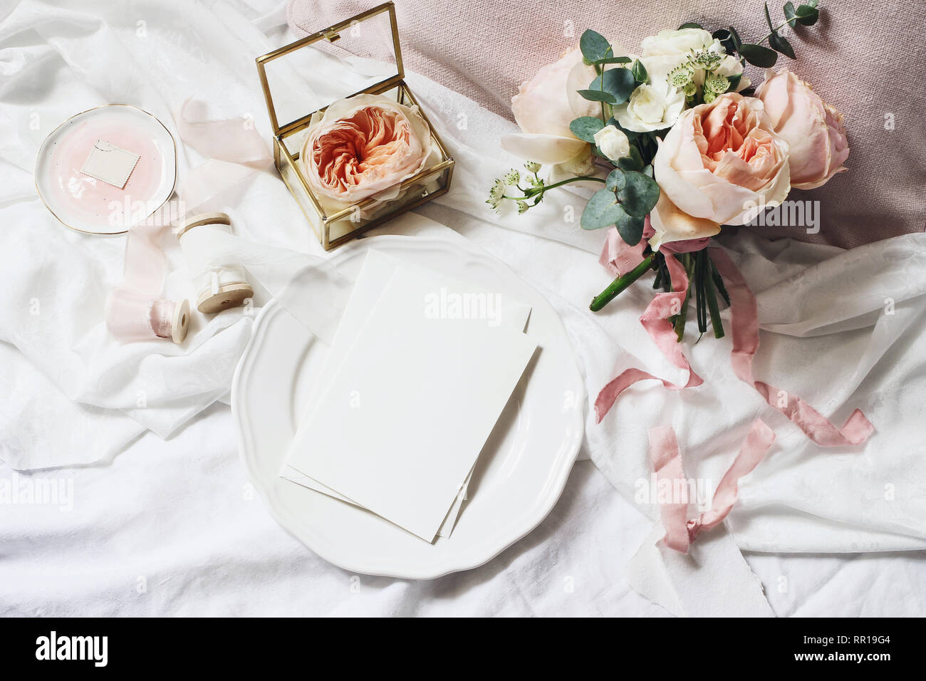 Vintage bedroom still life scene. Wedding, birthday bouquet ...