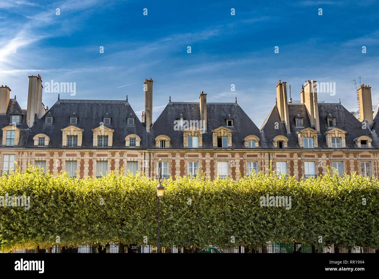 Place des Vosges Le Marais.Paris - Stock Image