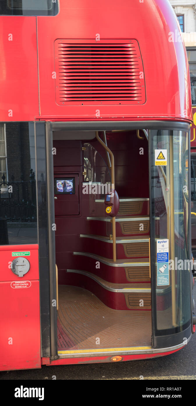 The new and modern Routmaster bus, is environment friendly and efficient with the latest technology transporting passengers through London, UK. - Stock Image