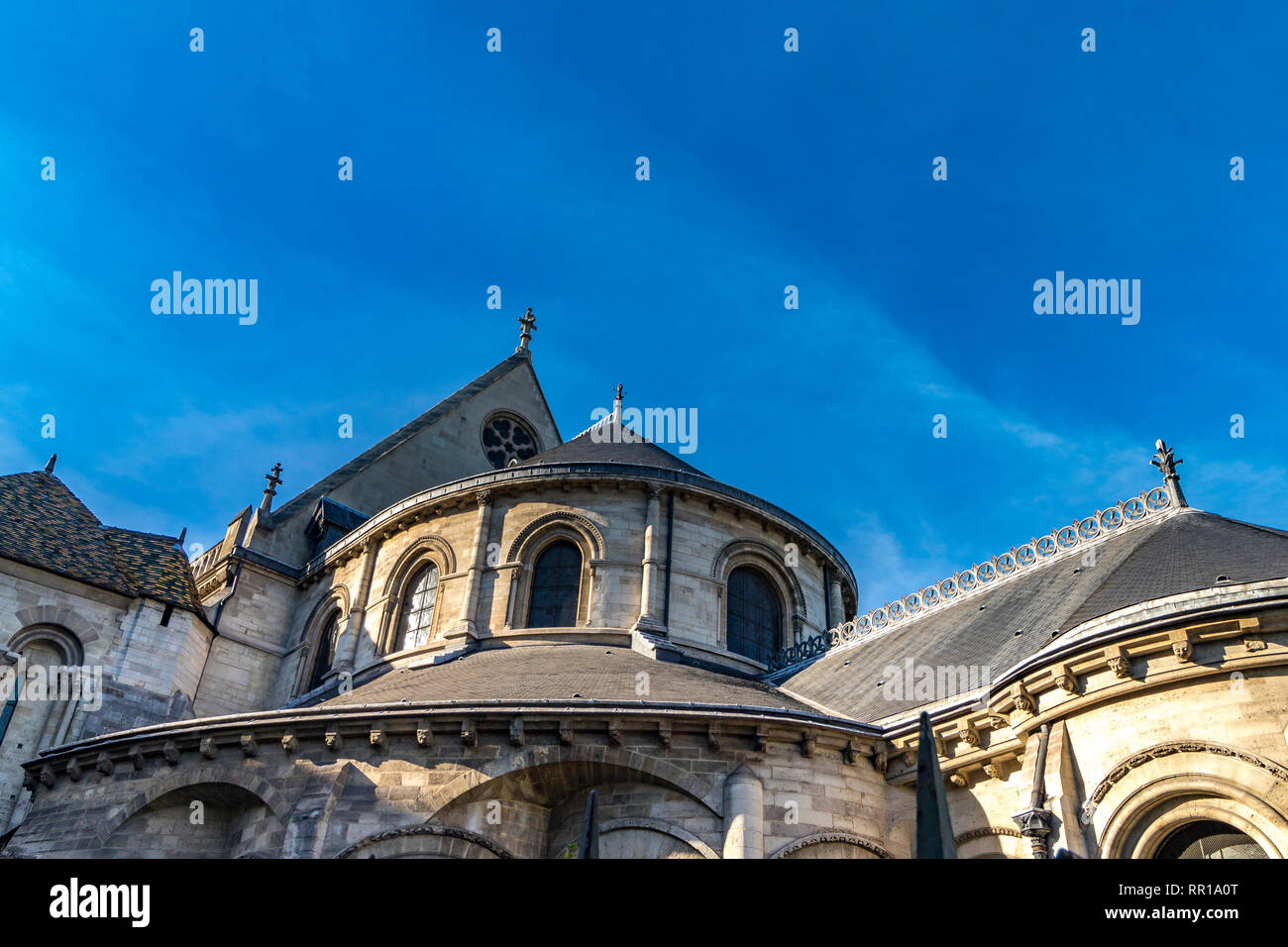 The exterior of  The Musée des Arts et Métiers , an industrial design museum housed in the priory of Saint-Martin-des-Champs on Rue Réaumur, Paris - Stock Image