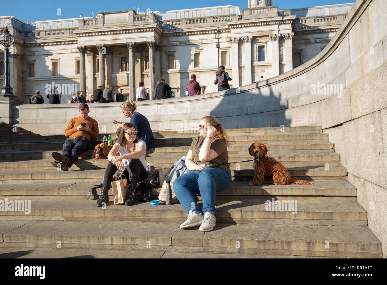 People, family and friends, enjoying a fun day, walking, sitting and relaxing on Trafalgar Square of London, UK, on a warm spring like day in February - Stock Image