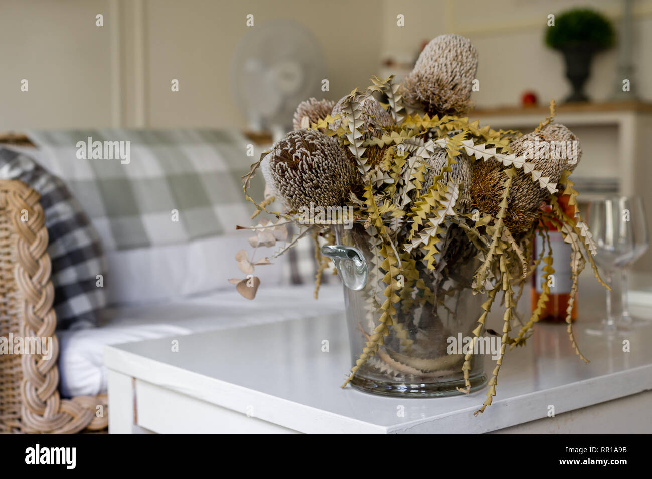 dried flower arrangment with banksia flowers - Stock Image