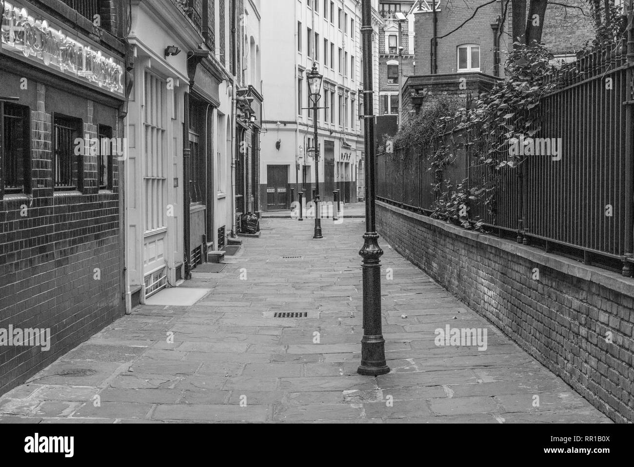 Empty, classical London street with street lamp without people - Stock Image