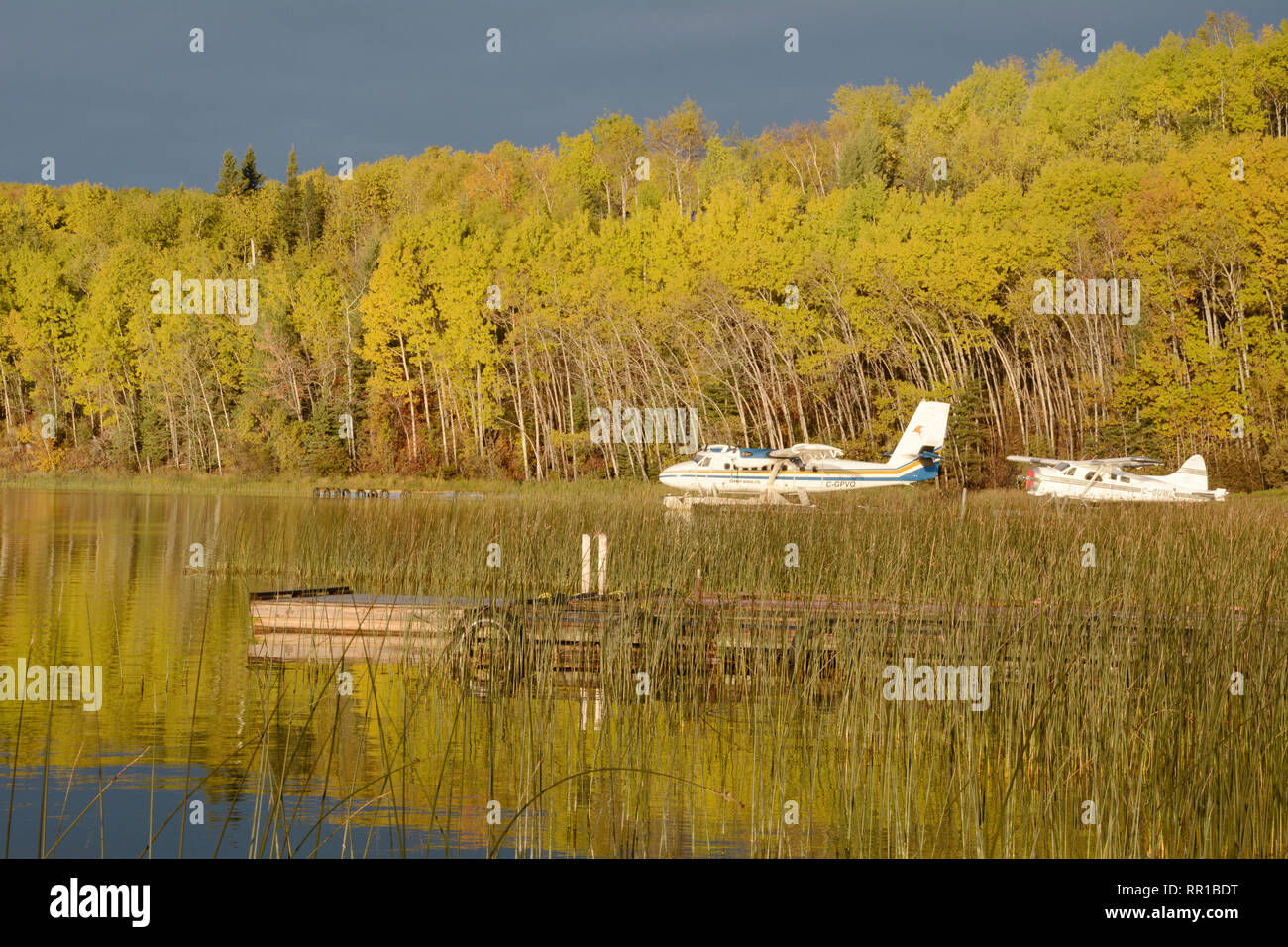 Two float planes docked at a lakeside cottage in the boreal forest town of Missinipe, northern Saskatchewan, Canada. Stock Photo