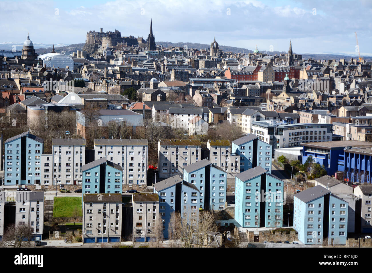 A cityscape view of the medieval old of downtown Edinburgh, and its newer outlying districts, from Arthur's Seat, Scotland, United Kingdom. - Stock Image
