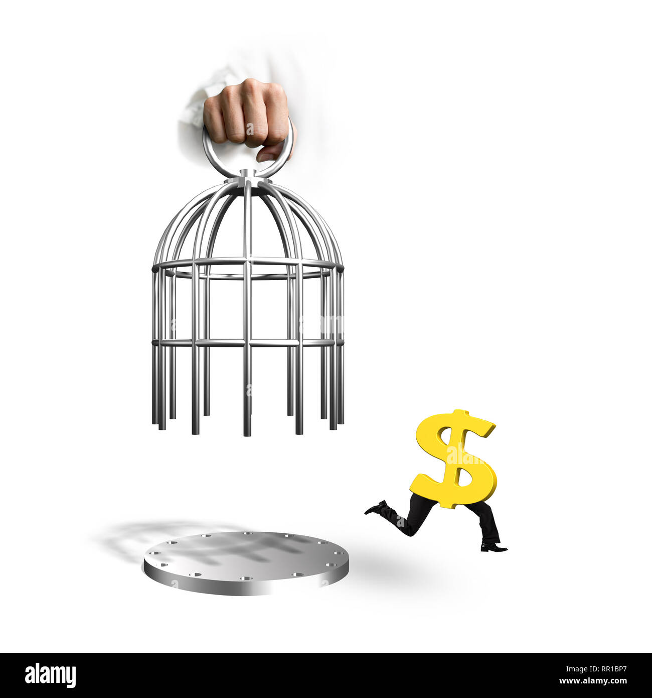 Hand opening the cage and golden dollar sign with human legs running, isolated on white background. Stock Photo