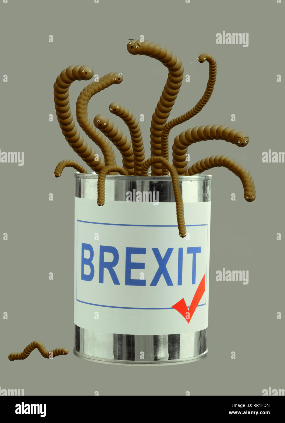 Brexit can of worms. Concept, metaphor UK EU politics. Cute critters. - Stock Image