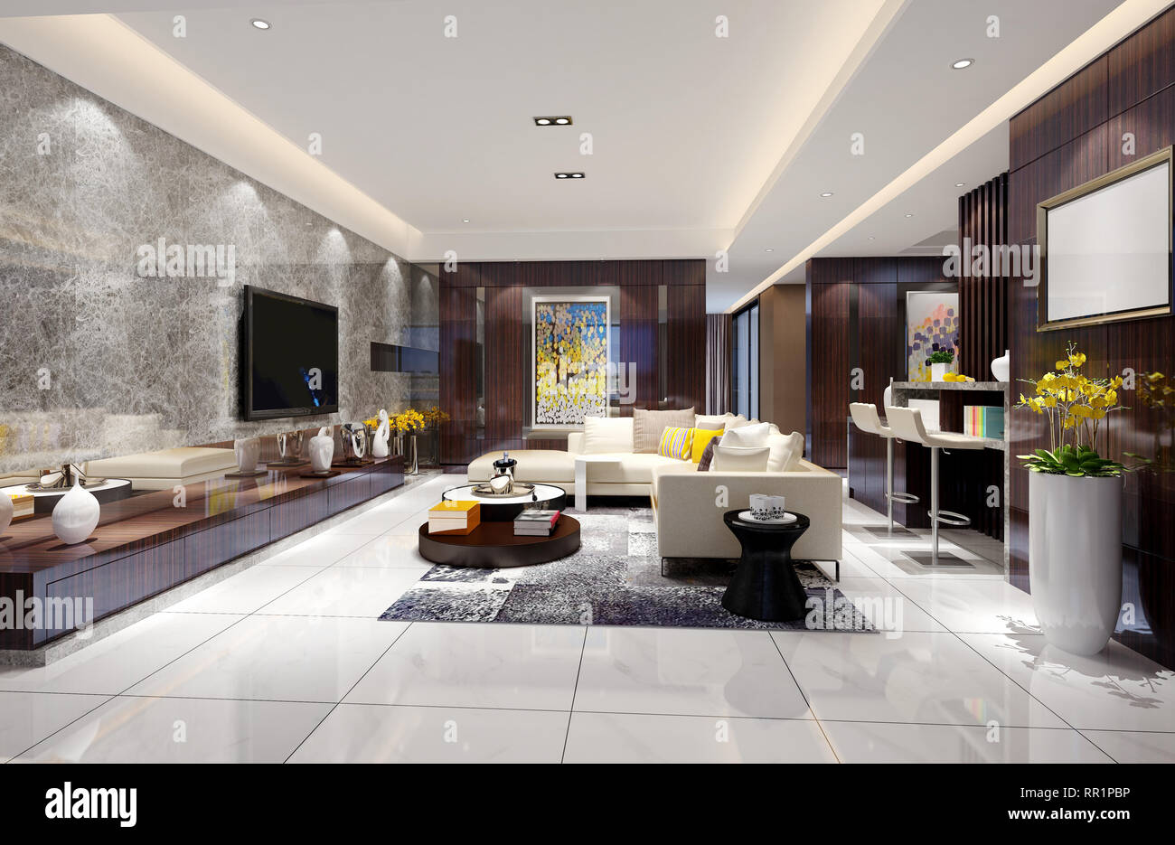 3d Render Of Home Interior Stock Photo 237911402 Alamy