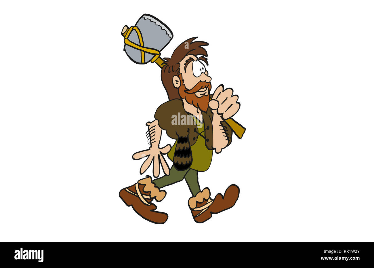Iron age man with axe - Stock Image