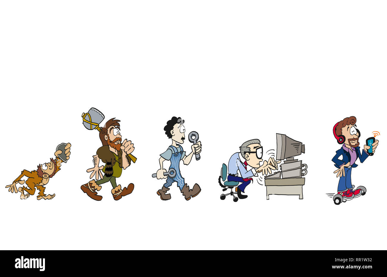 History evolution of work - Stock Image
