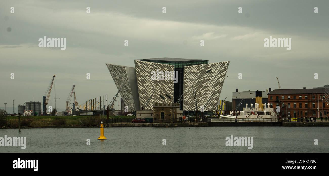 Exterior of Titanic Museum. Belfast, February 2019 - Stock Image