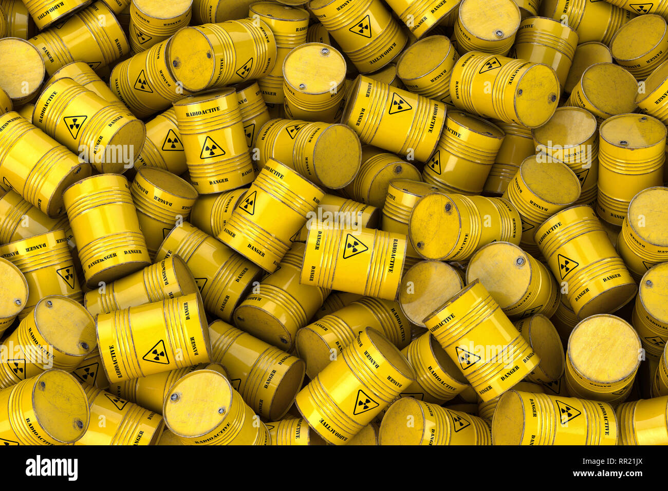 Storage and utilization of nuclear radioactive waste concept background. Heap of yellow barrels with radioactive sign. 3d illustration Stock Photo