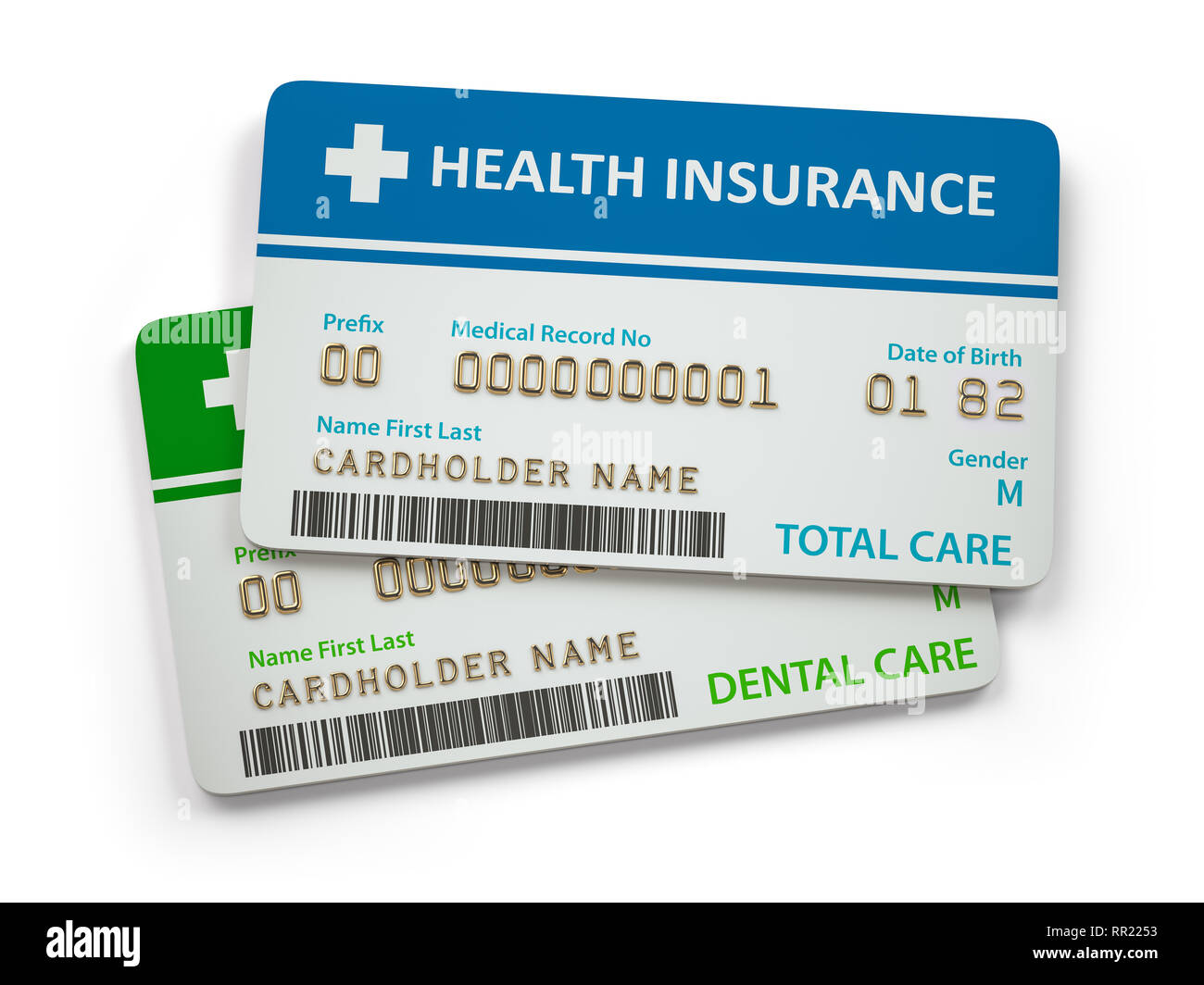 Health Insurance cards total and dental care  Isolated on white background. 3d illustration Stock Photo