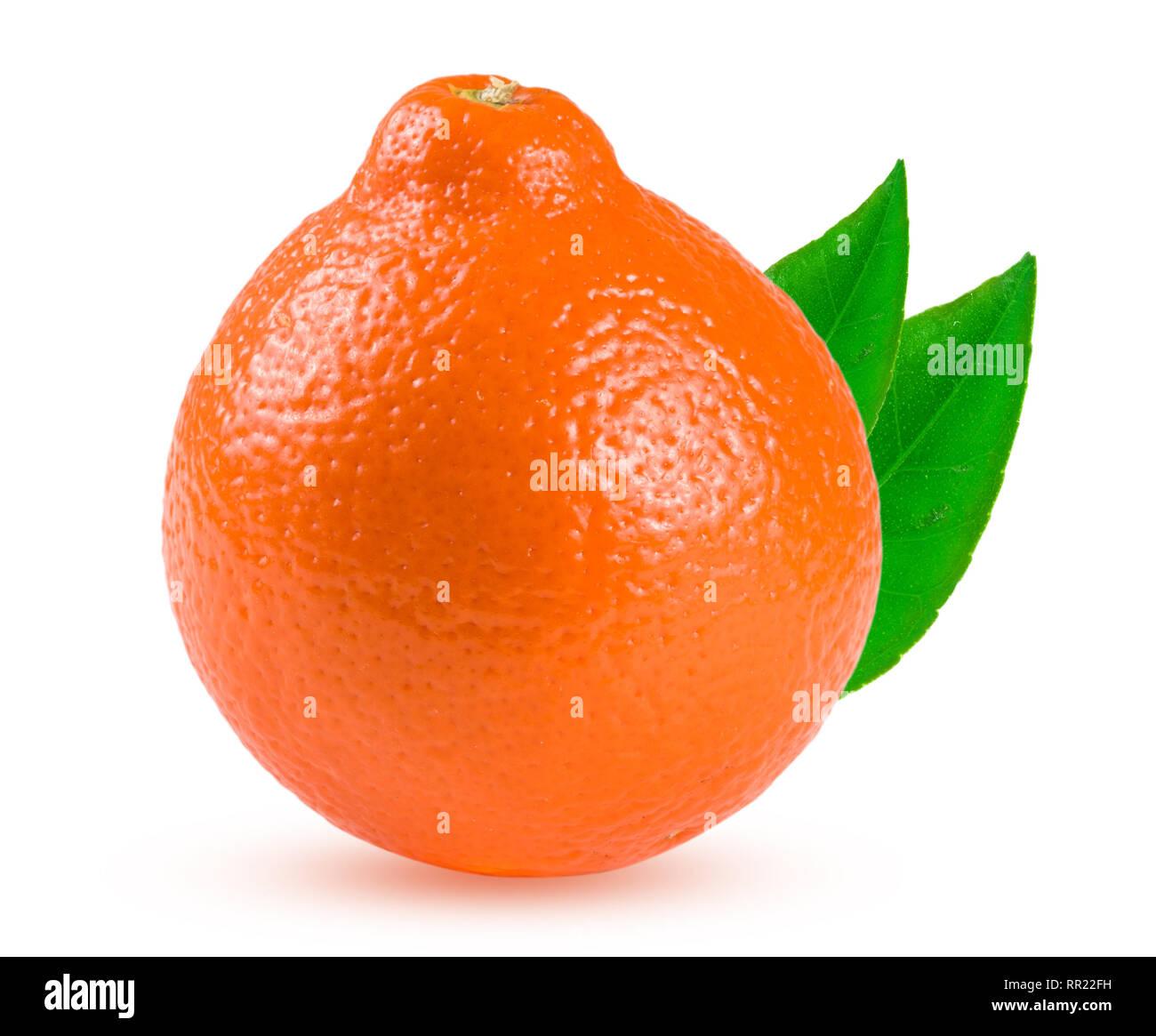 orange tangerine or Mineola with leaf isolated on white background - Stock Image