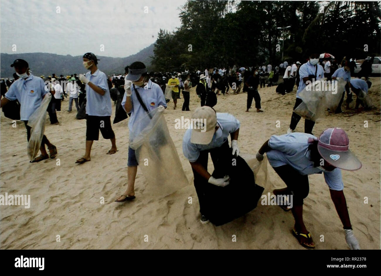 . After the Tsunami: Rapid Environmental Assessment. . Phuket. Thailand (5 January 2005). Hundreds of volunteers clean Patong beach in Phuket a week after the tsunami. With continued strong cooperation, the countries of the Indian Ocean can establish a course towards recovery that benefits people and the environment. © Pornchai Kittiwongsakul/AFP/Getty Images 1.3 Recommendations Reconstruction and restoration begins now. Mainstreaming environmental concerns is a prerequisite for sustainable reconstruction. Environmental management should always take as its point of departure the need to involv - Stock Image