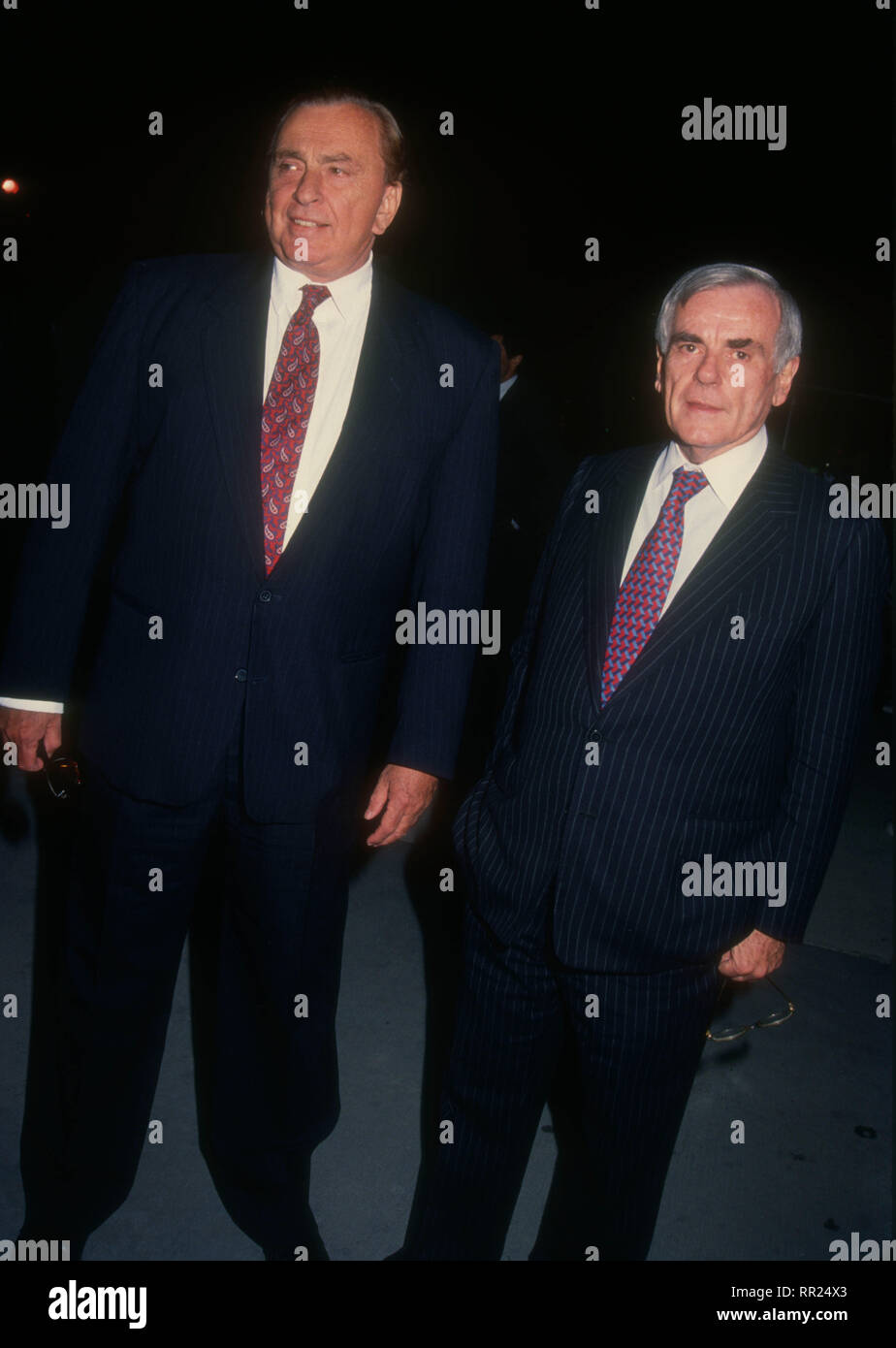 UNIVERSAL CITY, CA - JANUARY 27: Writer Gore Vidal and Journalist/writer Dominick Dunne attend APLA Commitment to Life VII Benefit on January 27, 1994 at Universal Studios in Universal City, California. Photo by Barry King/Alamy Stock Photo - Stock Image