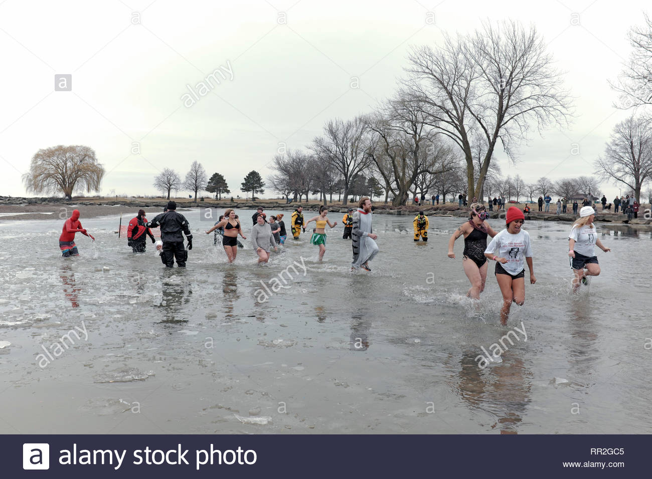 Cleveland, Ohio, USA.  24th Feb, 2019.  Participants in the 2019 Cleveland Polar Plunge brave the ice-filled waters of the Lake Erie shoreline in Edgewater Park, Cleveland, Ohio.  Over 400 participants took a dip in the freezing waters raising funds for the Special Olympics.  Credit: Mark Kanning/Alamy Live News. - Stock Image