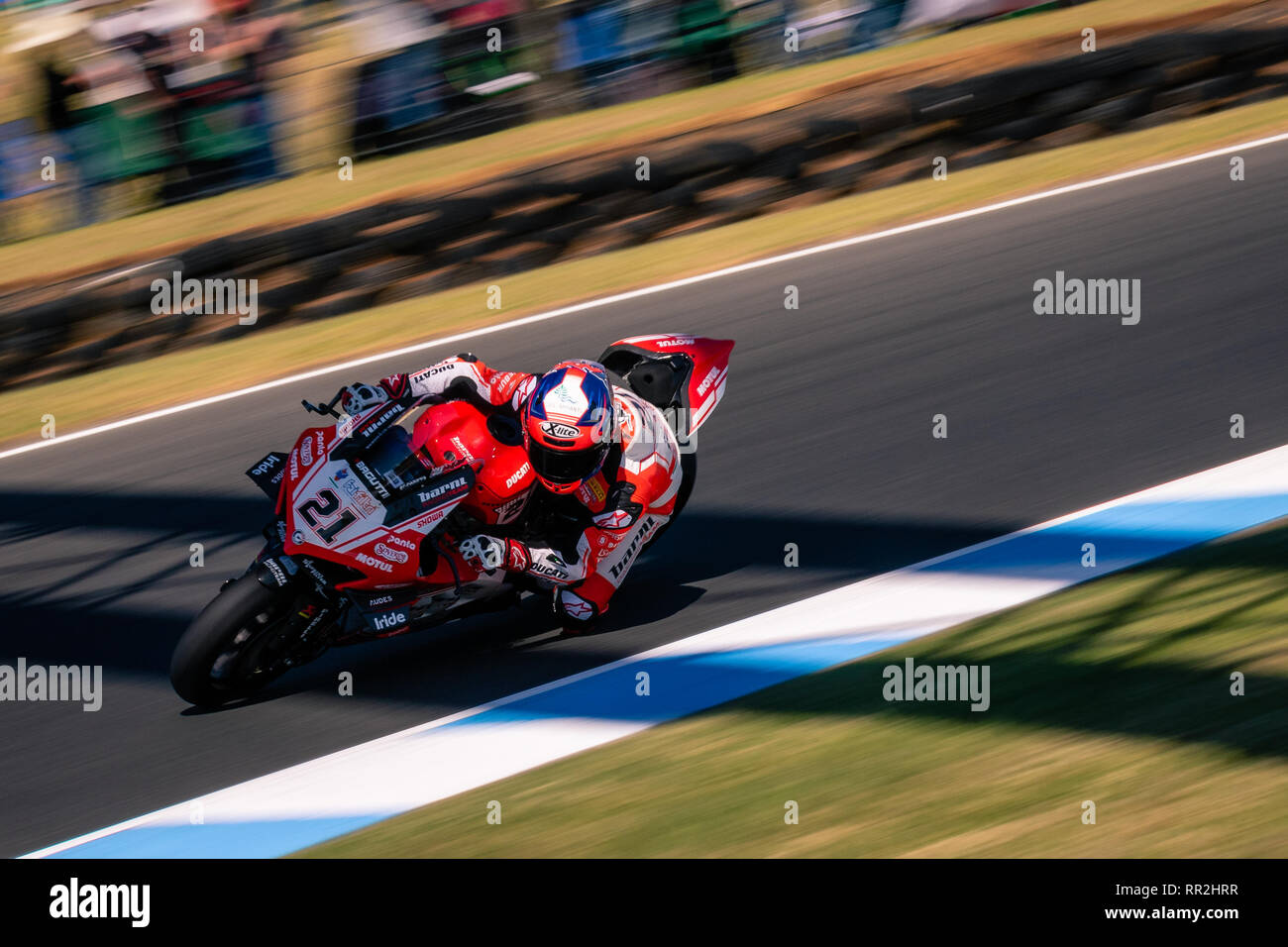 Melbourne, Australia. 24th Feb, 2019. MELBOURNE, AUSTRALIA - FEBRUARY 24: Michael Ruben Rinaldi 21 riding for GULF ALTHEA BMW Racing Teamduring the 2019 MOTUL FIM Superbike World Championship at Phillip Island, Australia on February 24 2019. Credit: Dave Hewison Sports/Alamy Live News Stock Photo