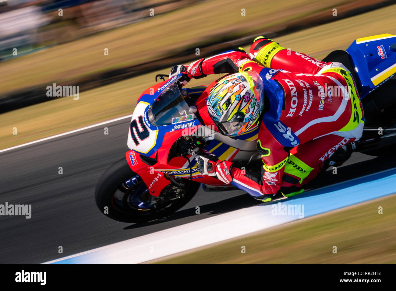 Melbourne, Australia. 24th Feb, 2019. MELBOURNE, AUSTRALIA - FEBRUARY 24: Leon Camier 2 riding for Red Bull Honda World Superbike Team during the 2019 MOTUL FIM Superbike World Championship at Phillip Island, Australia on February 24 2019. Credit: Dave Hewison Sports/Alamy Live News Stock Photo