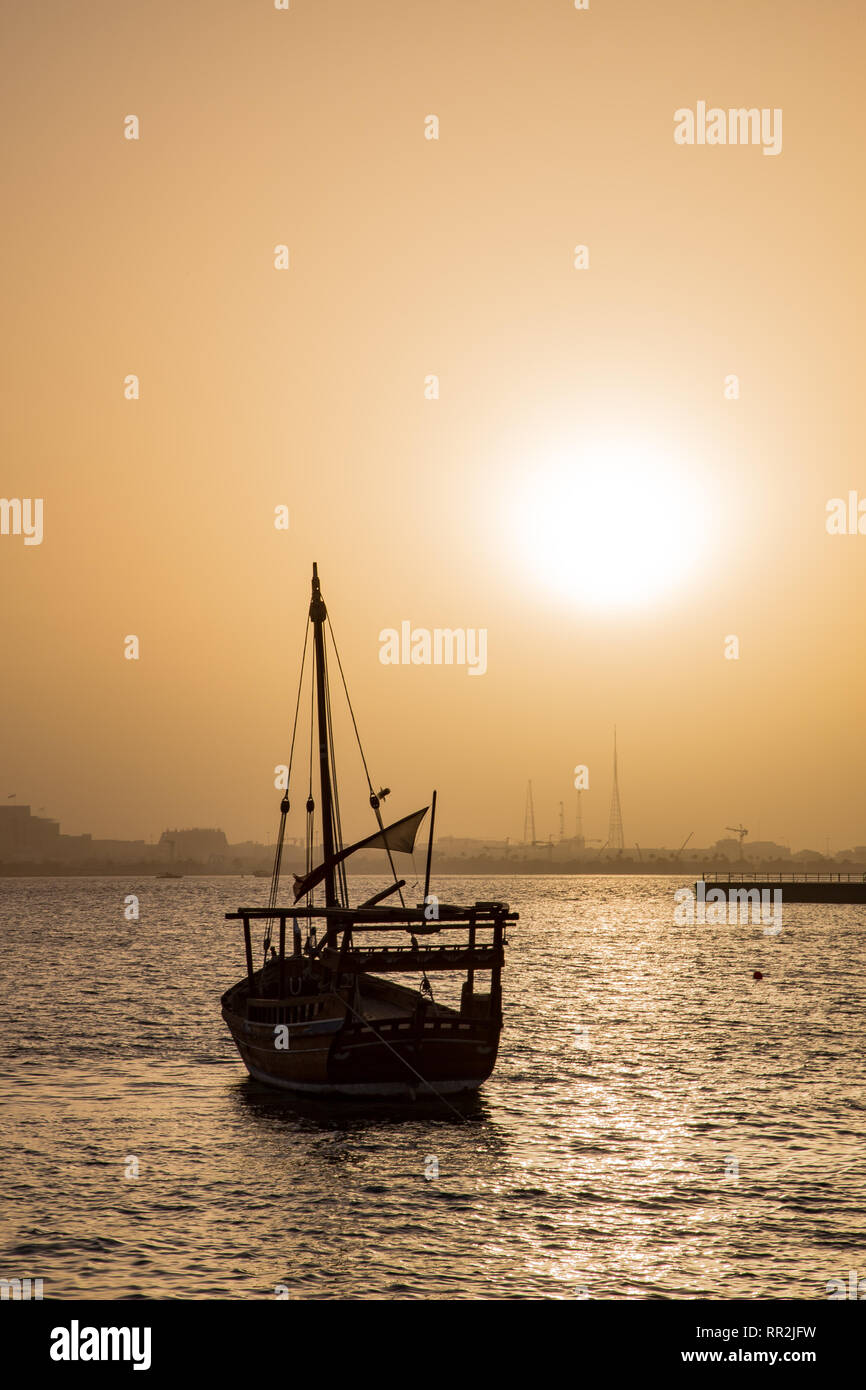 Doha, Doha, Qatar. 20th June, 2016. A boat seen on Doha bay at dusk in Doha, Qatar. Credit: Toby Forage/SOPA Images/ZUMA Wire/Alamy Live News - Stock Image