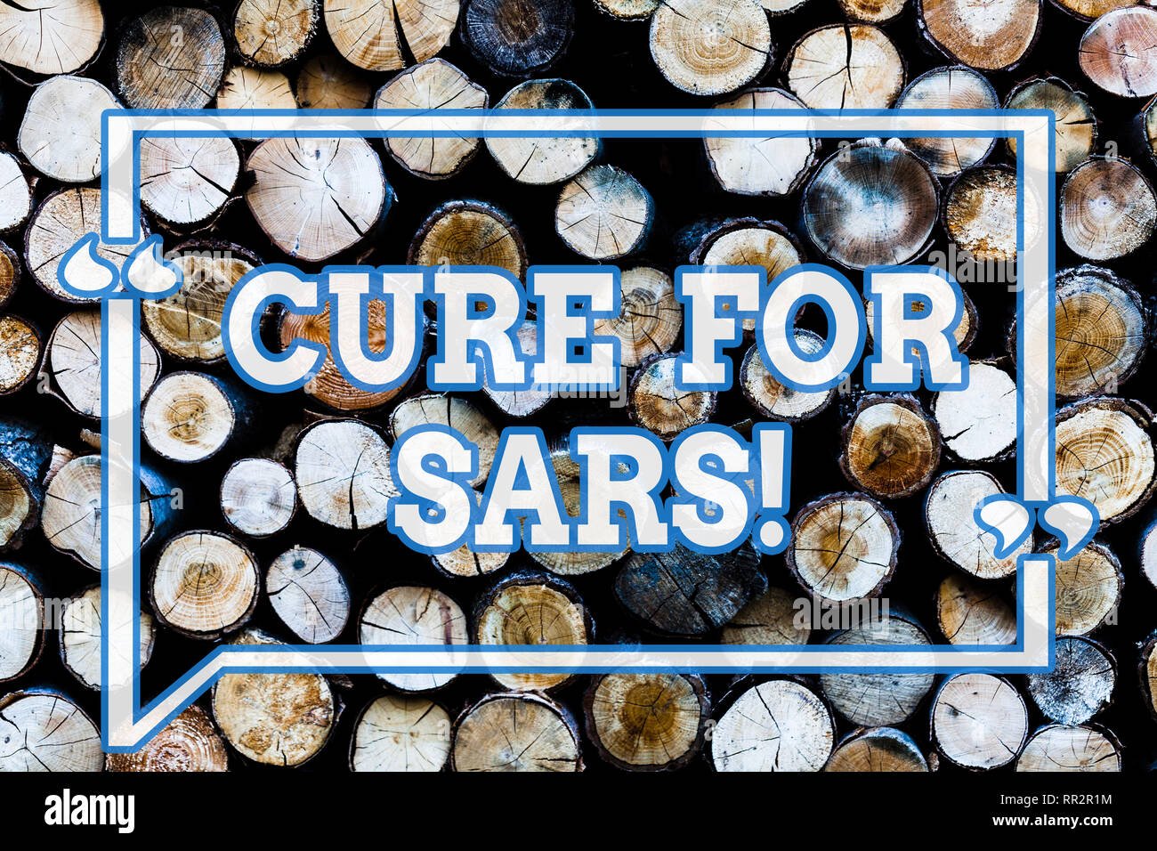 Writing note showingCure For Sars. Business photo showcasing Medical treatment over severe acute respiratory syndrome Wooden background vintage wood w - Stock Image
