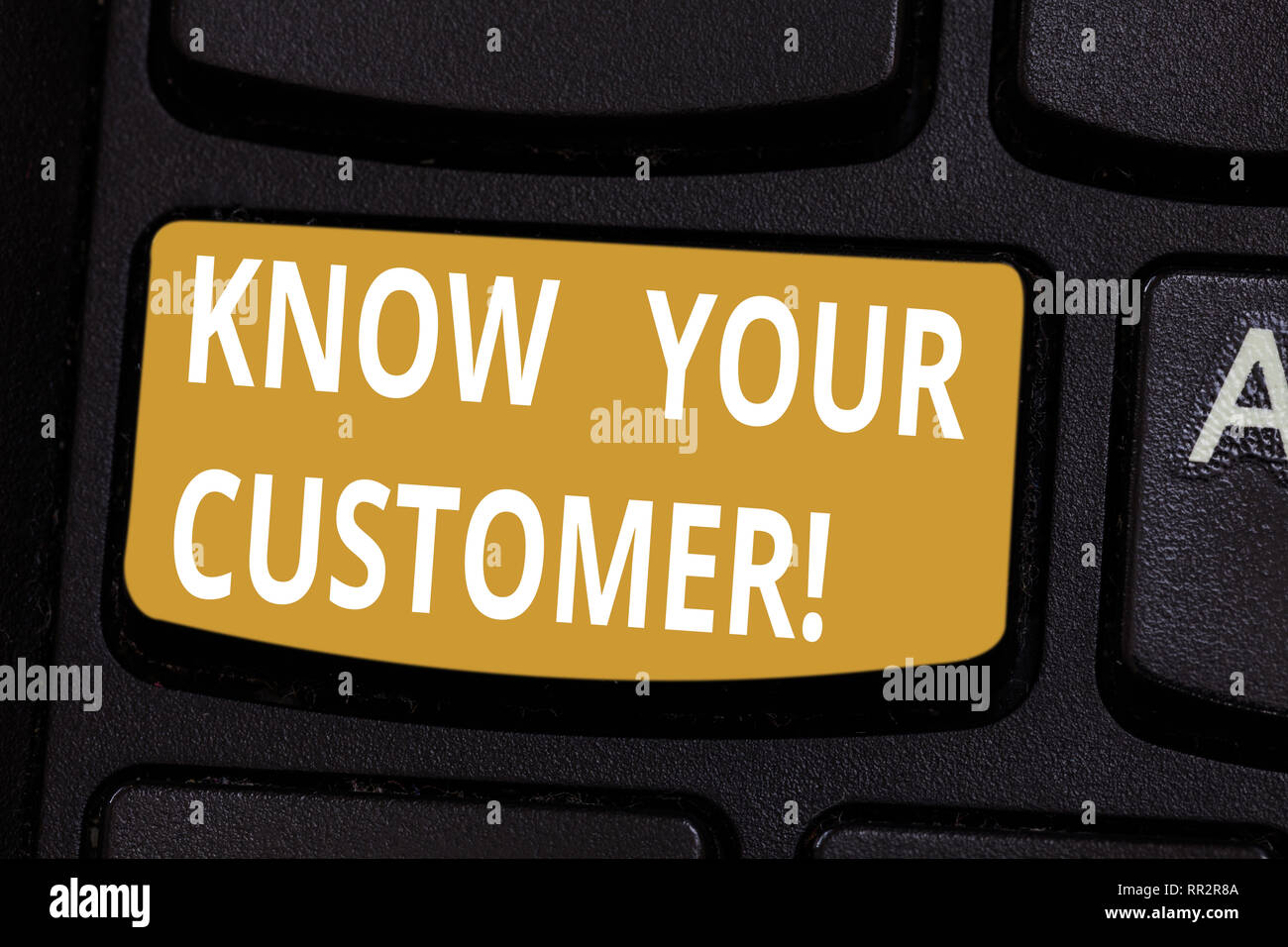 Handwriting text Know Your Customer. Concept meaning verifying identity clients and assessing potential risks Keyboard key Intention to create compute - Stock Image