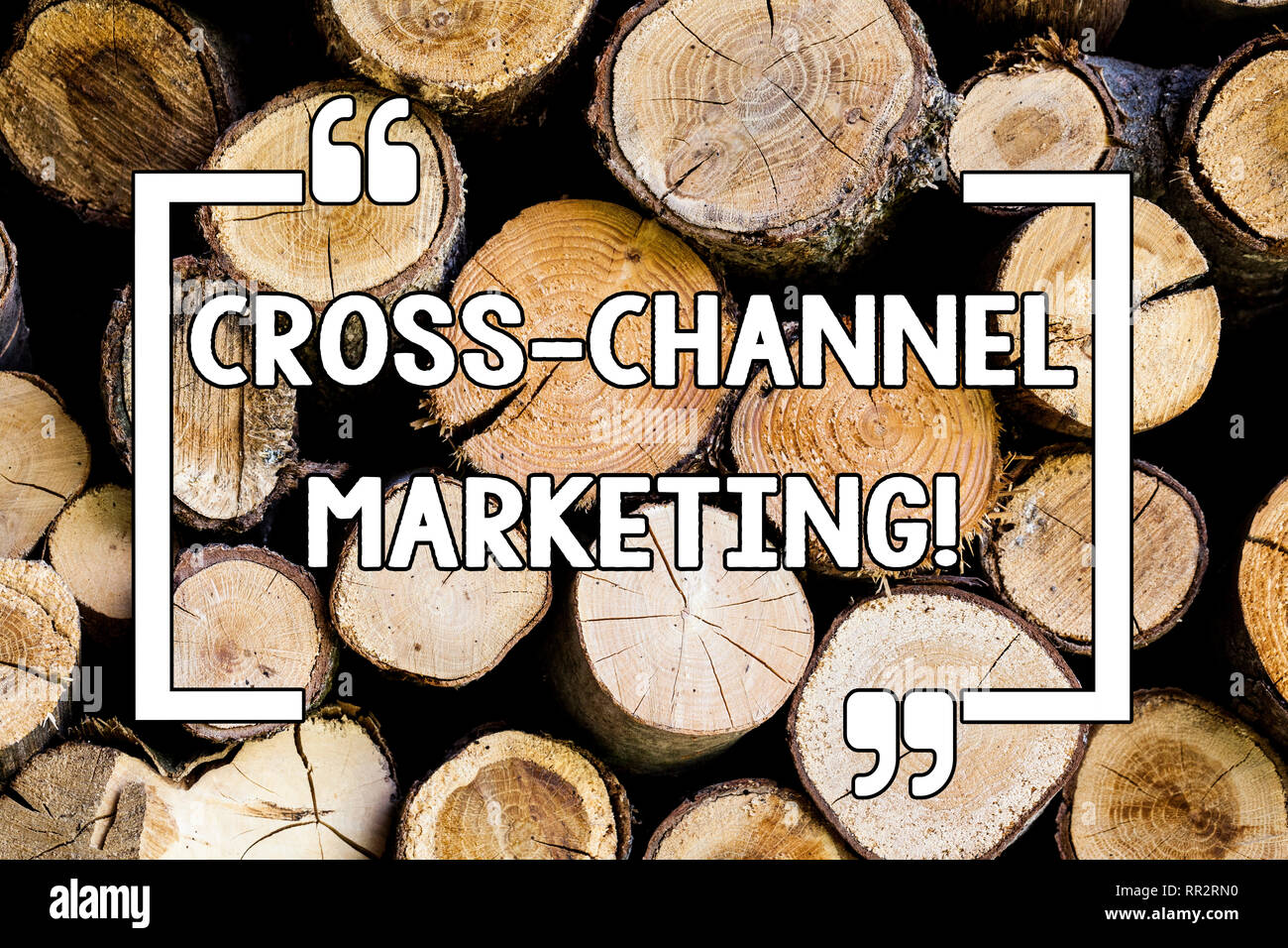 Conceptual hand writing showing Cross Channel Marketing. Business photo text Engaging with customer across every digital channel Wooden background vin - Stock Image