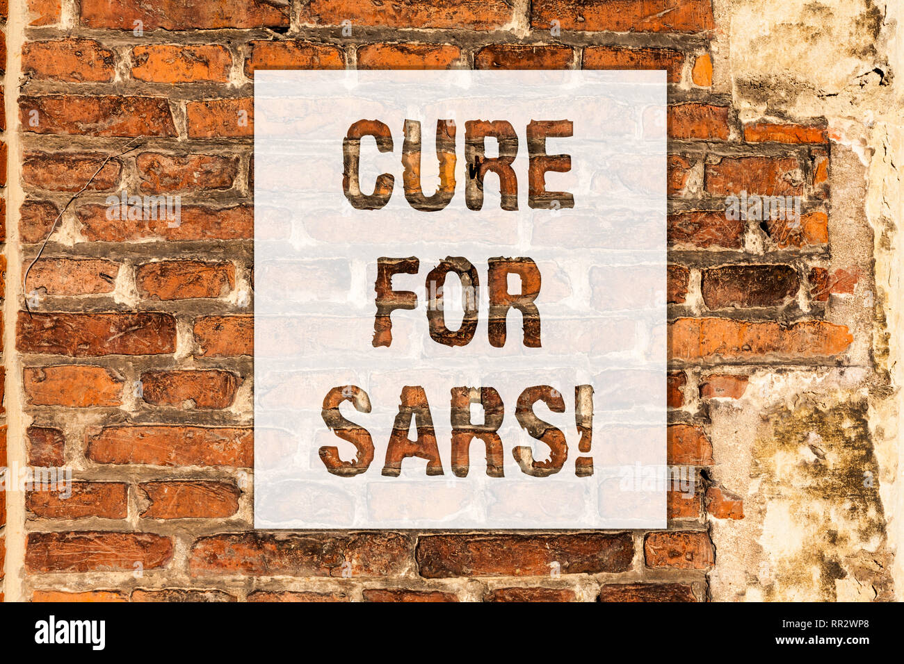 Conceptual hand writing showing Cure For Sars. Business photo text Medical treatment over severe acute respiratory syndrome Brick Wall art like Graffi - Stock Image