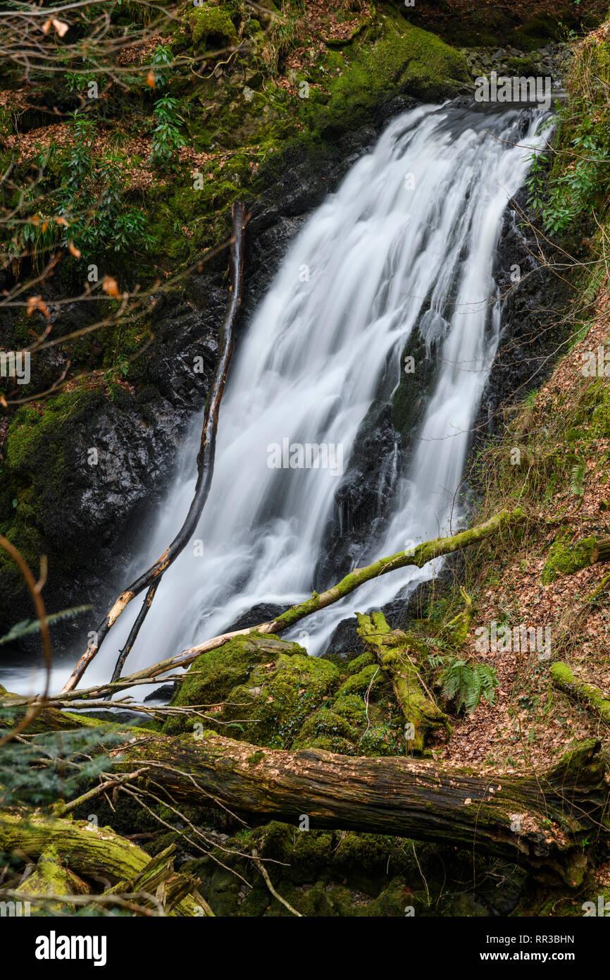 Hells Hole waterfall, Bucks Linn, near Glenlee, Dumfries & Galloway, Scotland - Stock Image