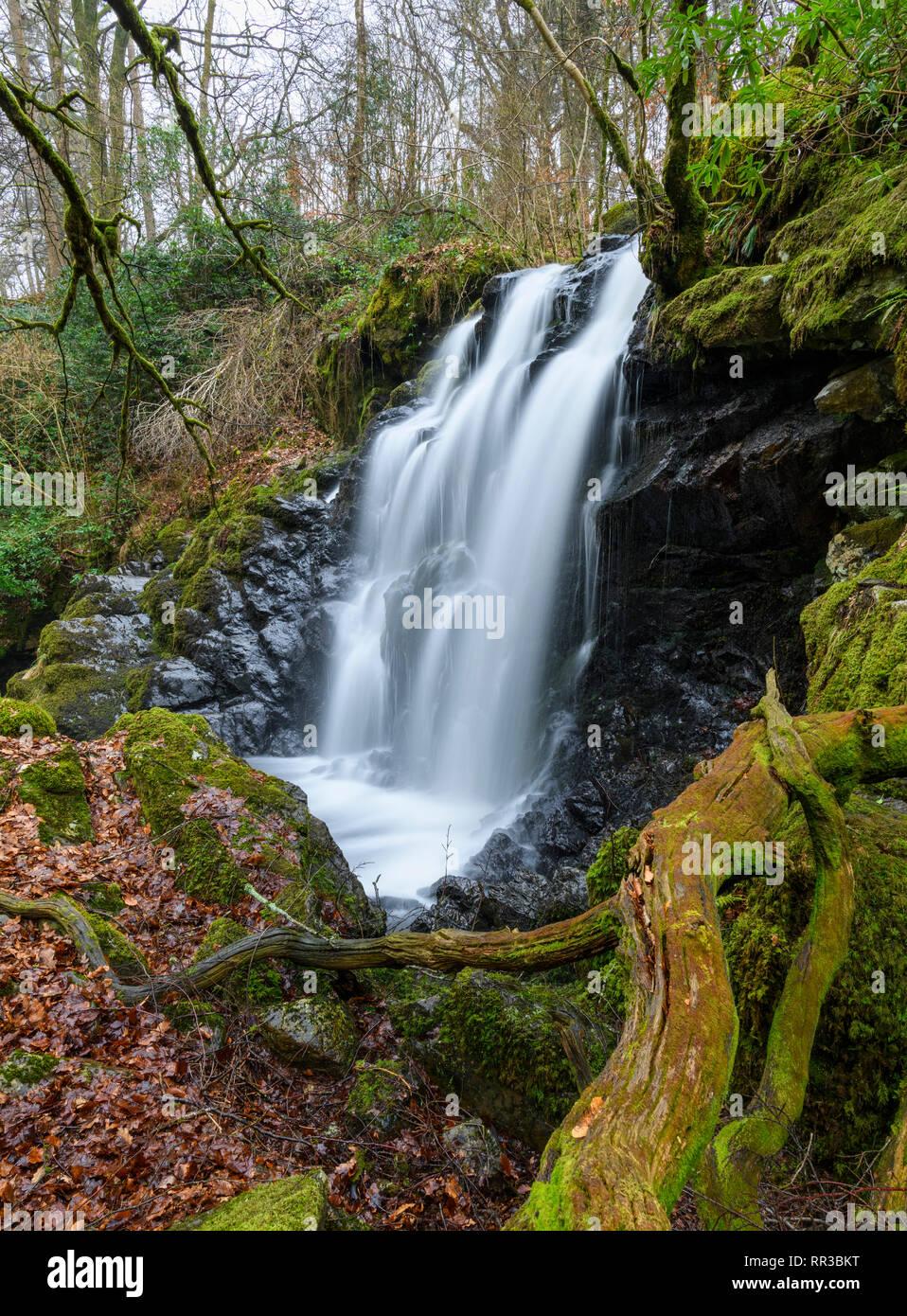 Bucks Linn waterfall, near Glenlee, Dumfries & Galloway, Scotland - Stock Image