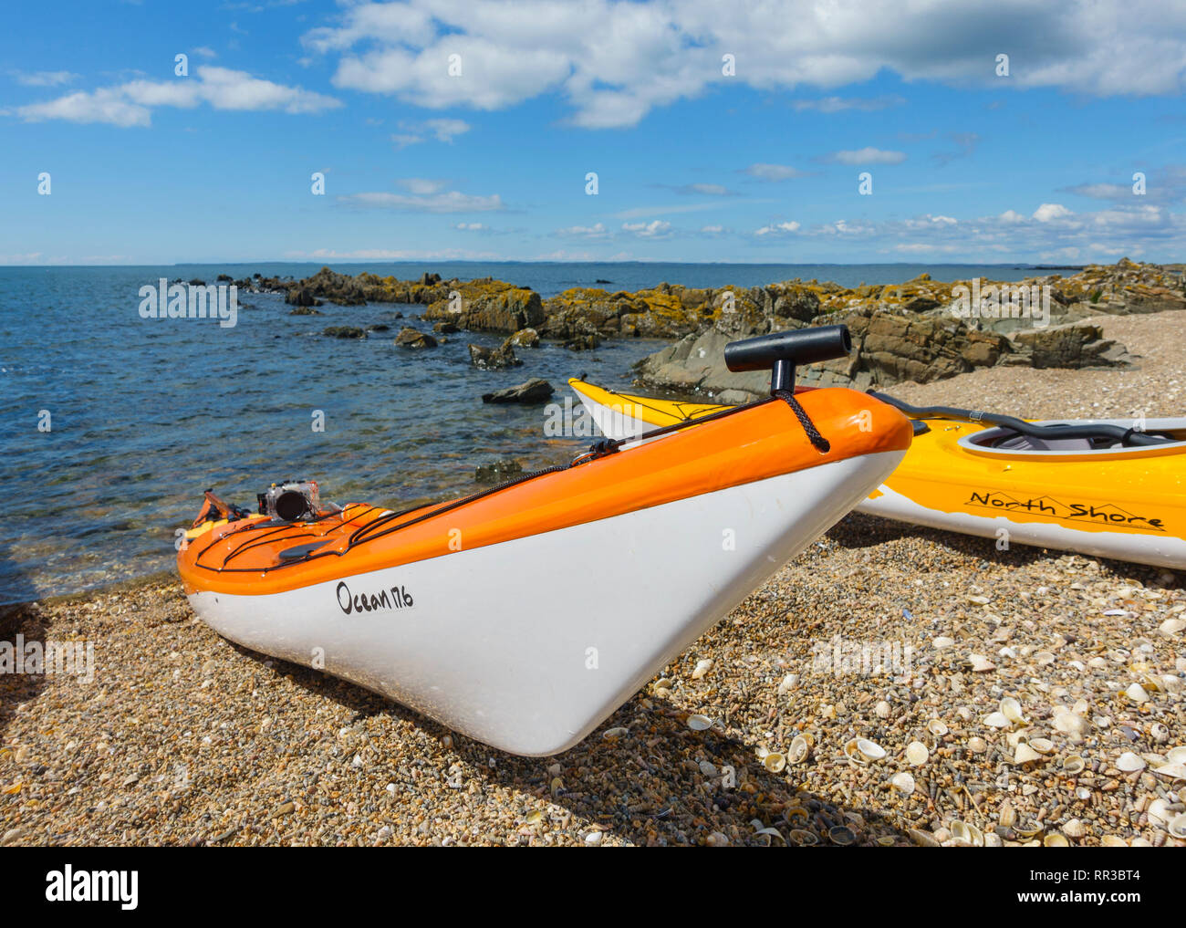 Sea Kayak on the beach, Solway Firth, Dumfries & Galloway, Scotland - Stock Image