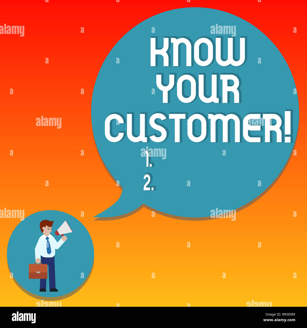 Handwriting text writing Know Your Customer. Concept meaning verifying identity clients and assessing potential risks Man in Necktie Carrying Briefcas - Stock Image