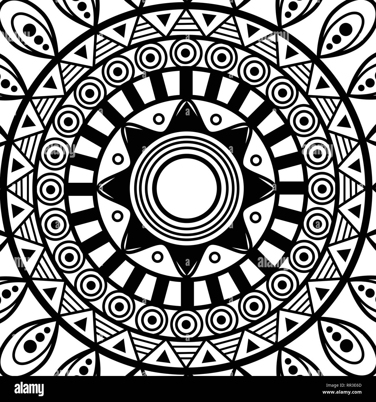 abstract. sentagle. isolate. vector. black and white - Stock Image