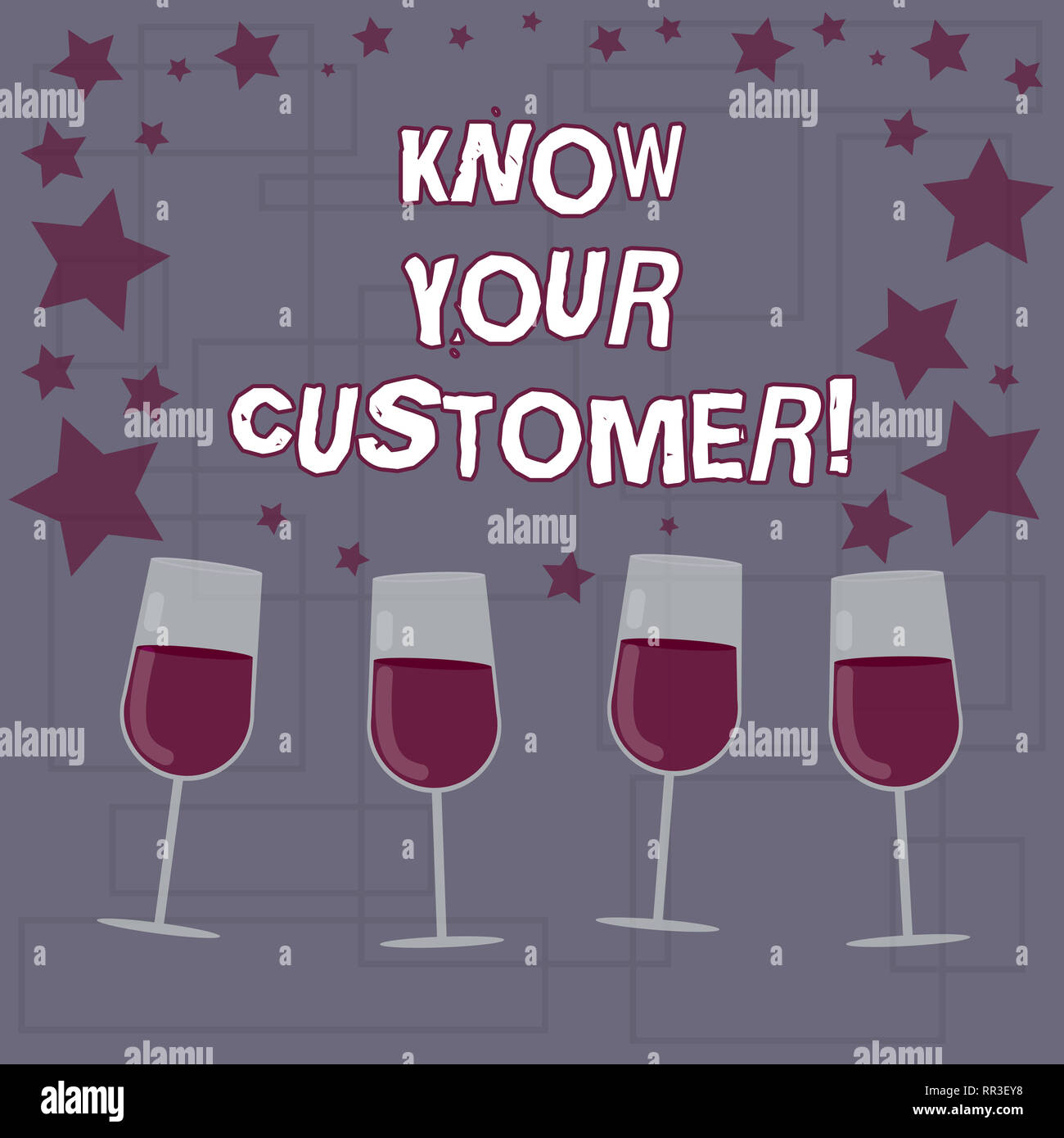 Text sign showing Know Your Customer. Conceptual photo verifying identity clients and assessing potential risks Filled Cocktail Wine Glasses with Scat - Stock Image