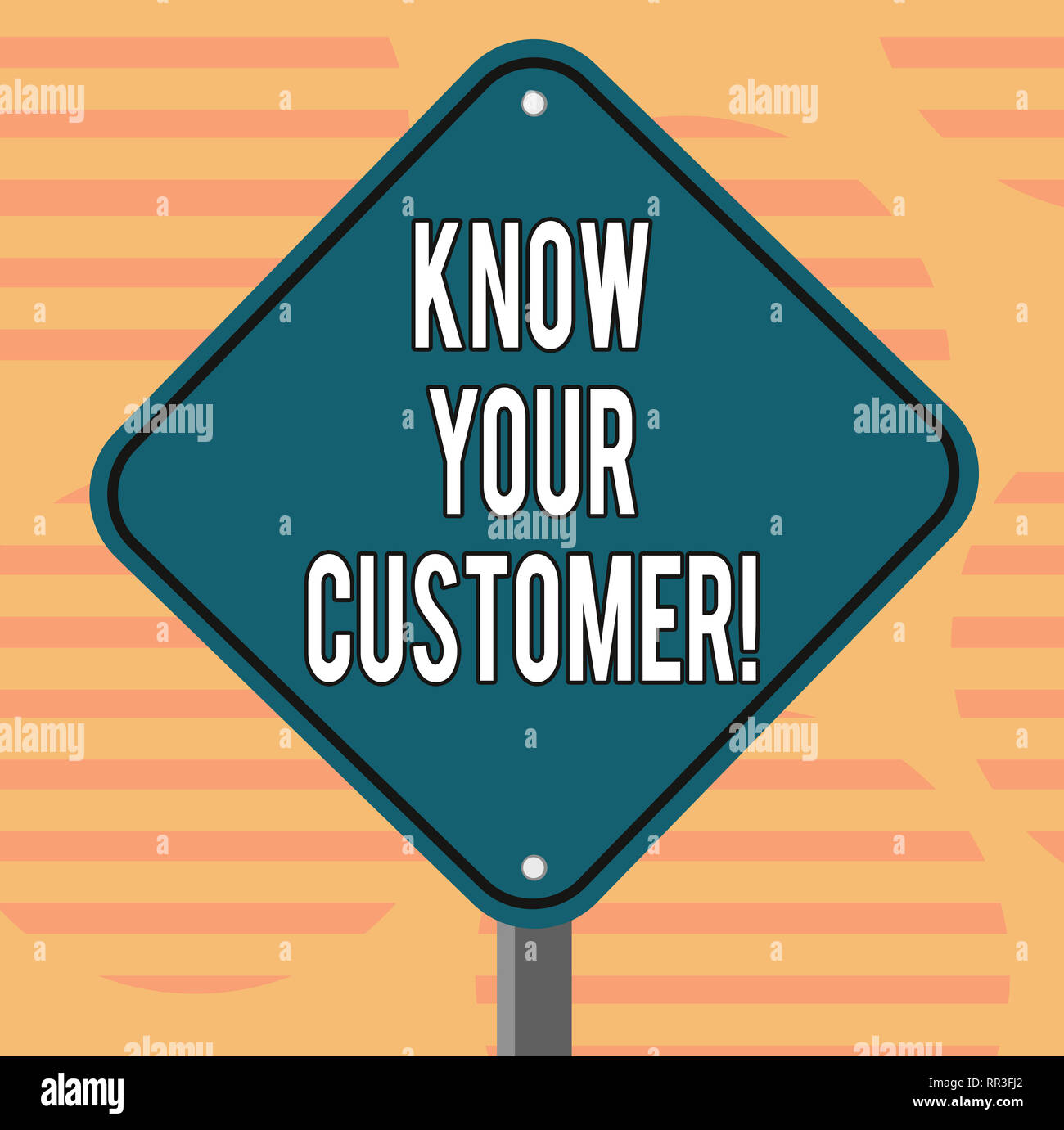 Word writing text Know Your Customer. Business concept for verifying identity clients and assessing potential risks Blank Diamond Shape Color Road War - Stock Image