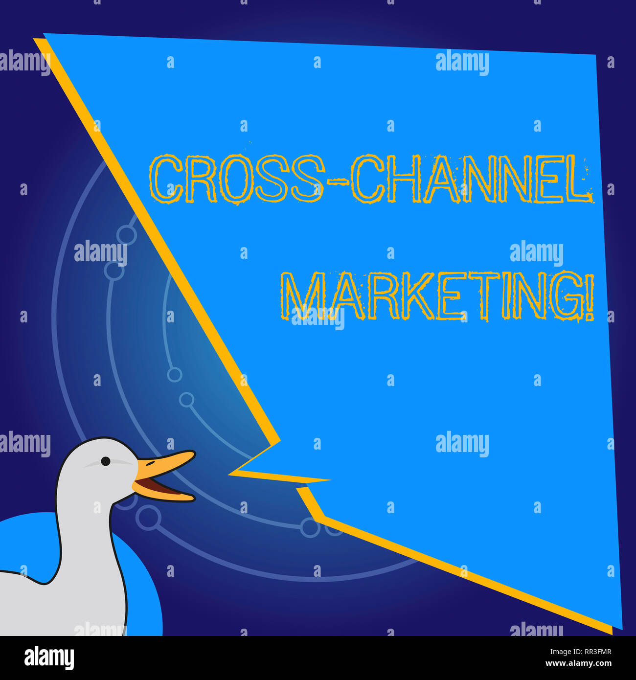 Conceptual hand writing showing Cross Channel Marketing. Business photo showcasing Engaging with customer across every digital channel - Stock Image
