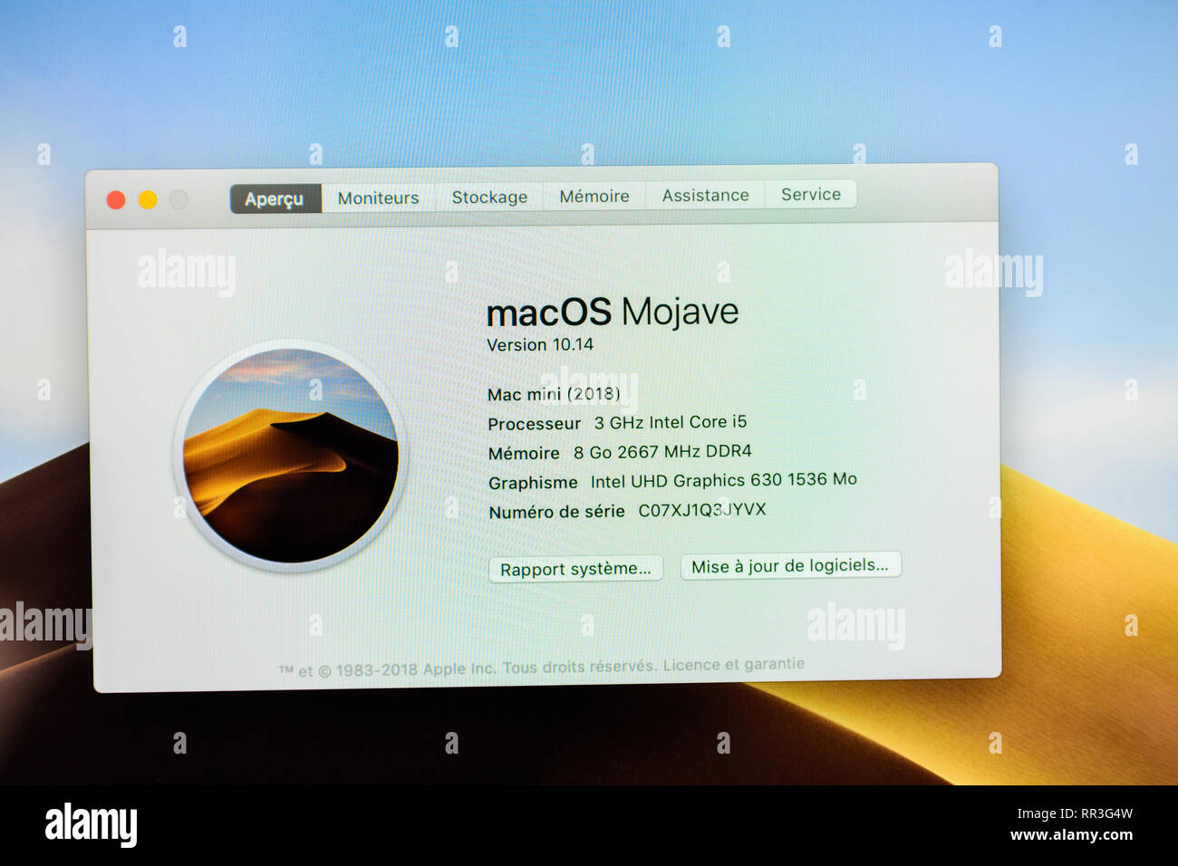 PARIS, FRANCE - NOV 7, 2018: MacOS Mojave running on the new Apple