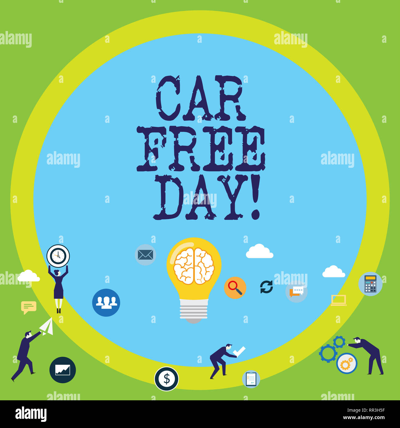 Conceptual hand writing showing Car Free Day. Business photo text Environment protection world campaign avoiding pollution Stock Photo