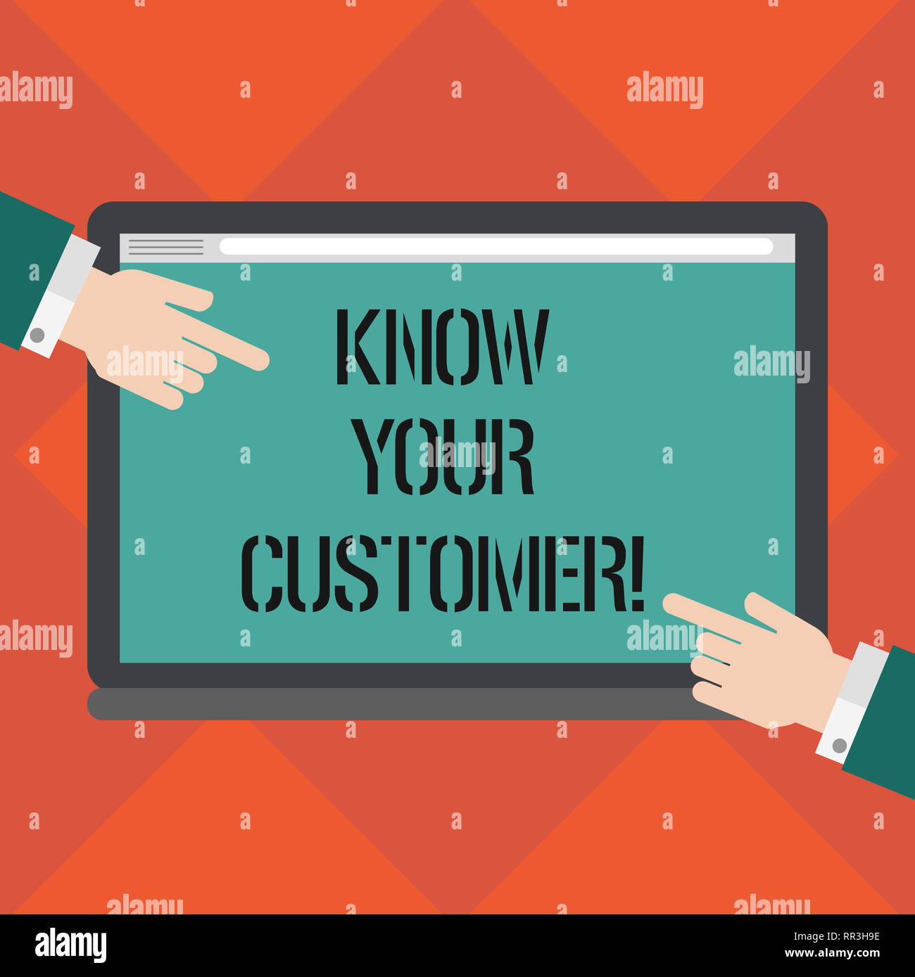 Handwriting text writing Know Your Customer. Concept meaning verifying identity clients and assessing potential risks Hu analysis Hands from Both Side - Stock Image