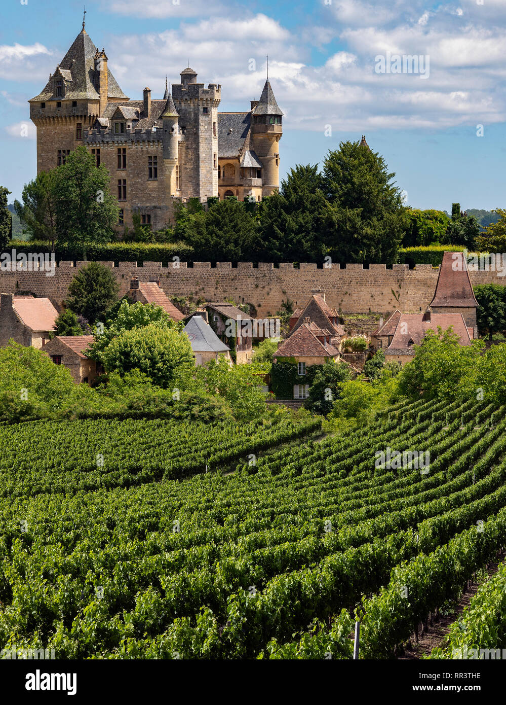 Chateau de Montfort - a castle in the French commune of Vitrac in the Dordogne region of France. Stock Photo