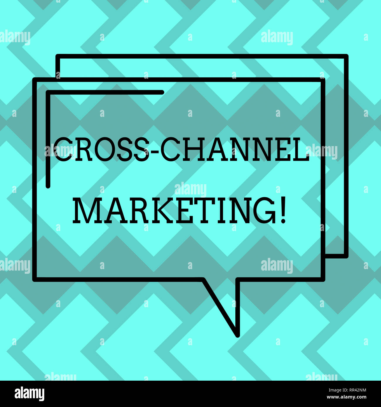 Text sign showing Cross Channel Marketing. Conceptual photo Engaging with customer across every digital channel Rectangular Outline Transparent Comic  - Stock Image